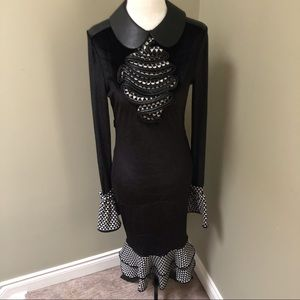 NUVULA Retro Black Velvet Dress w/ Many Details